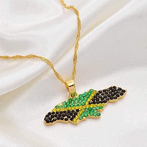 LKLFC Collar Mujer Collar Hombre Collar Color Bandera Nigeria Jamaica con Diamantes de imitación Mapas de África Colgantes Collares Joyería étnica Regalo Niñas Niños Collar