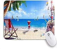 KAPANOUマウスパッド クリスマスサーフ熱気球イルカ灯台トナカイサンタ亀巻貝のビーチチェアヤシの木 ゲーミング オフィ良い 滑り止めゴム底 ゲーミングなど適用 マウス 用ノートブックコンピュータマウスマット
