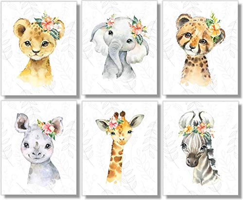 Safari Animals Wall Art Prints - Nursery Decor - Set of 6-8x10 - Unframed - Watercolor