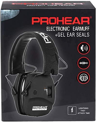 PROHEAR 036 Electronischer Gehörschutz für Jagd Schießstand mit Silikon Ohrpolster, Lärmminderung Klangverstärkung Ohrenschützer mit LED Anzeiger, SNR28dB