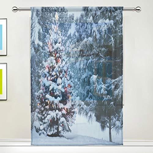 BIGJOKE Vorhang für Fenster, schneebedeckt, Weihnachtsbaum, Vorhänge, Küche, Wohnzimmer, Dekoration, Schlafzimmer, Büro, Voile, 1 Stück, multi, 55x84 inches
