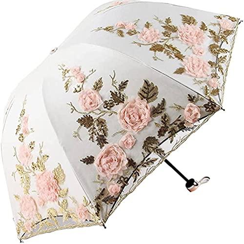 Paraguas Parasol de Encaje Paraguas, Paraguas Plegable sombrilla Anti-UV Liviana y Paraguas Plegable portátil,E,Standard