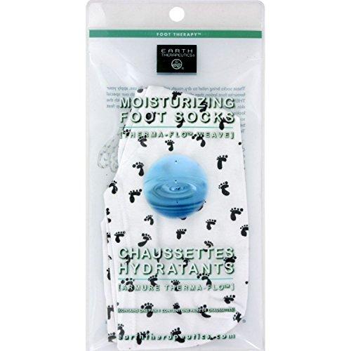 Earth Therapeutics Moisturizing Foot Socks w/Foot Prints-White 1 pair