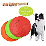 Dog Flying Discs,Dog Frisbee Toy,Pet Training Cyber Rubber Flying Saucer Interactive Toys,1pcs (Large, Red)