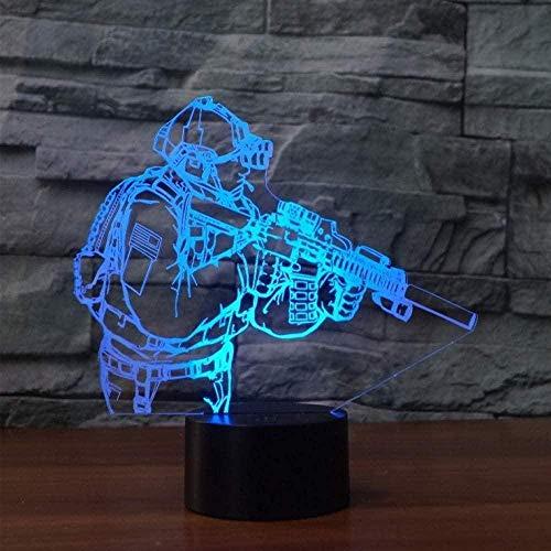 3D Nachtlicht Soldat Pistole 7 Farbwechsel 3D LED Nachtlicht Touch-Schalter 3D virtuelles Nachtlicht USB Tischlampe Hauptbeleuchtung