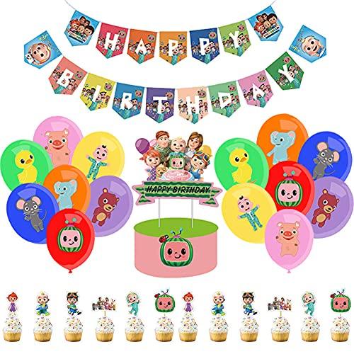 56 Pcs Cocomelon Decoraciones De Fiesta Temática, BKJJ Cocomelon Feliz Cumpleaños Suministros para Cocomelon, Tarta Adornos de Casa para Decoración Fiestas de Adornos para Cupcakes