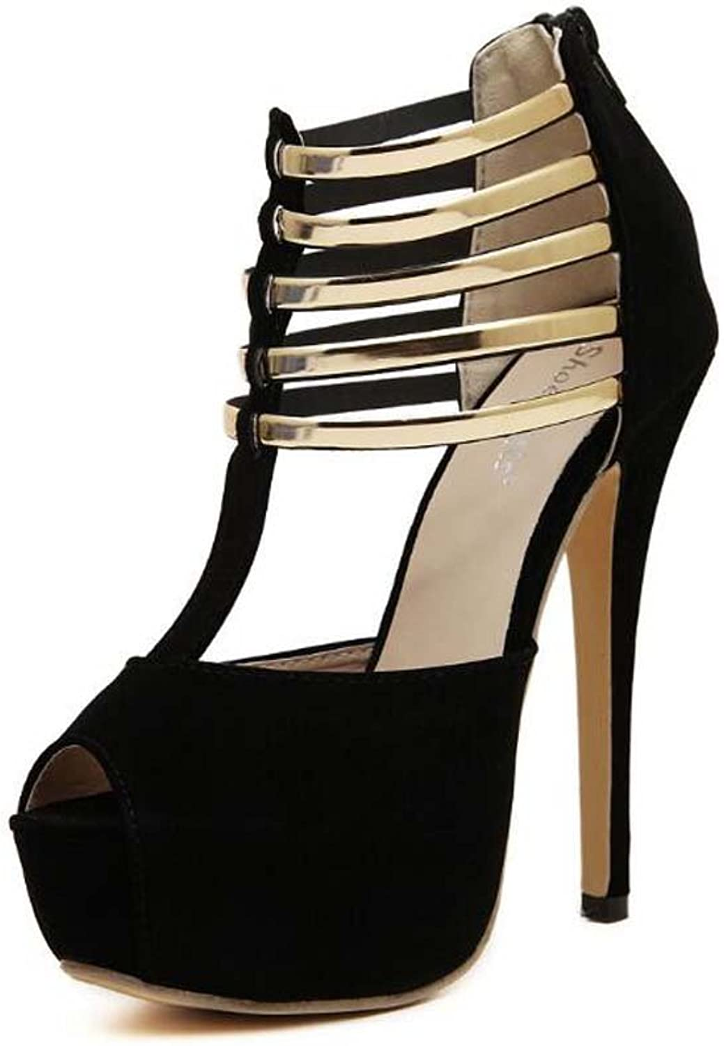 Large Size Women Pump shoes 14cm Stiletto T-Strap Sandals Dress shoes Peep Toe D'Orsay Metal Strap Zipper OL Court shoes Roma shoes Night Club shoes EU Size 34-43