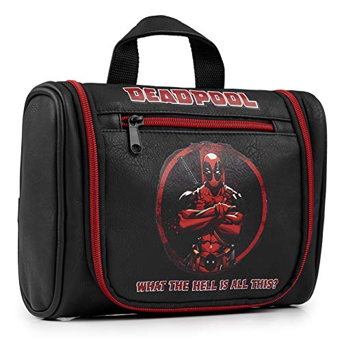 Deadpool Neceser Hombre, Bolsa Aseo Desplegable para Viajes Gimnasio, Bolsa Aseo Niño, Merchandising Oficial Regalos Para Hombre Niño Adolescente