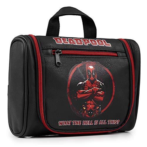 Deadpool Mens Wash Bag, Hanging Toiletry Bag For Travel and Gym, Official Marvel Washbag For Men