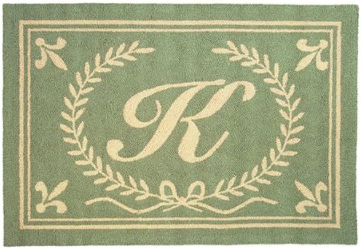 123 Creations C236ZZ Green Intial Z Hook Rug