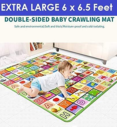 Ozoy Waterproof Double Side Baby Play Crawl Floor Mat for Kids Picnic School Home (Large Size -6.5X6 ft, Multicolour) with Zip Bag to Carry