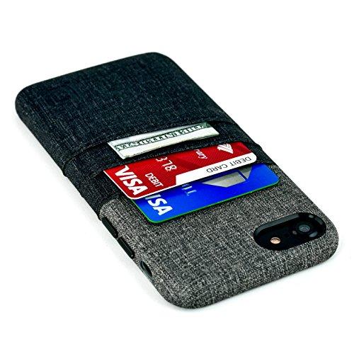 Dockem Funda para Tarjetas y Billetes para iPhone 7 y 8 - Funda con Cartera Minimalista de Piel sintética con Estilo de Tela de Lienzo, 2 Ranuras para Tarjetas, 1 Bolsillo para Billetes (Negra/Gris)