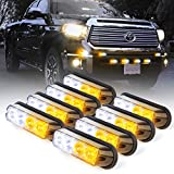 Xprite White & Amber Yellow 4 LED 4 Watt Emergency Vehicle Waterproof Surface Mount Deck Dash Grille Strobe Light Warning Police Light Head with Clear Lens - 8 Pack