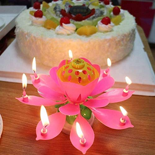 REAL ACCESSORIES 2 PACK PINK LOTUS FLOWER CANDLE Birthday Candle Blooming Lotus Candles Musical Lotus Rotating, Candle for Birthday Cake