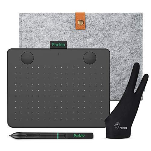 Parblo A640 V2 Tableta Gráfica para Dibujar, Pintar, 6X4 Pulgadas 8192 Niveles para OSU, Oficina en casa y e-Learning, con lápiz sin batería, Bolsa portátil, Compatible con Android/Windows/Mac, Negra