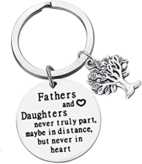 Dad Gift from Daughter for Birthday,Fathers and Daughters Never Truly Part, Maybe In Distance, But Never In Heart Keychain Dad Gifts Keychain Key Ring Personalized Gift for Daddy Papa