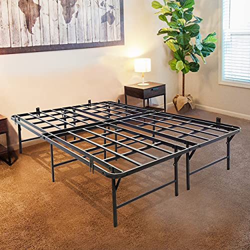 """Tooyyer 14"""" Queen Steel Bed Frame,Foldable Queen Platform Easy to Assembly,Heavy Duty Queen Size Bed Sturdy Slat Support 3500lbs,13"""" Underbed Storage,No Box Spring Needed Queen Frame"""