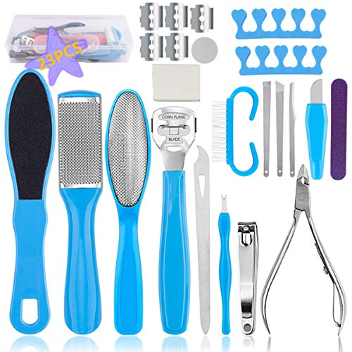 Professional Pedicure Tools Kit 23 in 1, Holady Stainless Steel Foot Rasp Foot Peel and Callus Clean Feet Dead Skin Tool Set, Nail Toenail Clipper Foot Care Kit for Women Men Salon or Home
