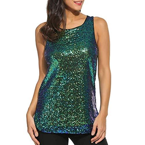 iHENGH Damen Top Bluse Bequem Lässig Mode T-Shirt Blusen Frauen Ärmellose Sparkle Shimmer Camisole Vest Pailletten Tanktops für Frauen(Grün, 2XL)