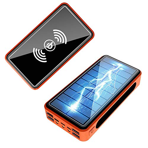 AEU Power Bank 50000Mah 2020 Nueva Versión Batería Externa Carga Rápida PD18W, Cargador Solar con Carga Inalambrica, 4 Salidas USB Y 1 USB-C LED Linterna SOS 3 Modos para Teléfono Móvil, Tableta
