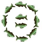 FBSHOP(TM) Pomelli in ceramica retrò a forma di pesce, per la cameretta dei bambini, armadietti, cassettoni e mobili (set da 10, verde)