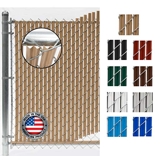 Wave Slat (9 Colors) Single Wall Bottom Locking Privacy Slat for 4', 5', 6', 7' and 8' Chain Link Fence (4 ft, Beige)