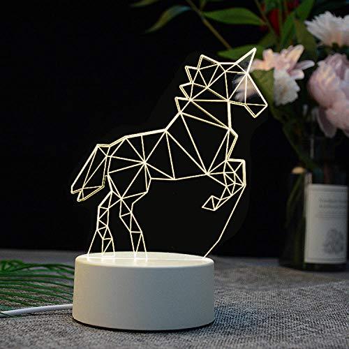 lámpara de mesa led lámpara táctil recargable usb acrílico casa inteligente 3d luz de noche regalo de vacaciones-USB monocromo_Unicornio
