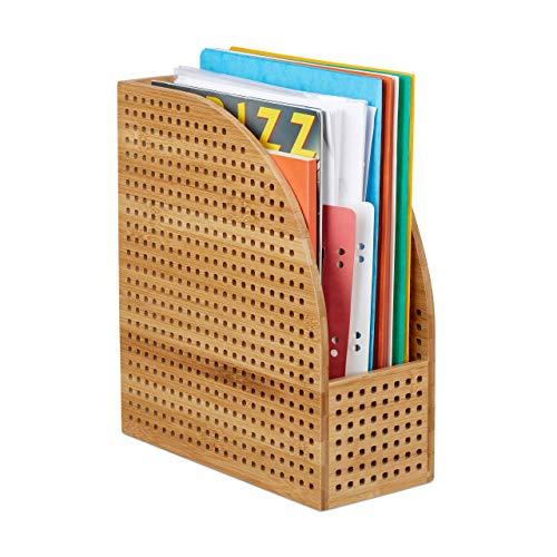 Relaxdays, Natur Stehsammler XL Bambus, A4, extrabreit, Papieraufbewahrung, Zeitschriftensammler,HBT 30,5 x 26,5 x 12 cm, Standard