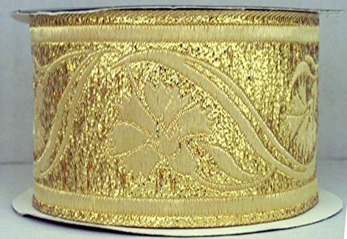 10m Brokat Borte Webband 35mm breit Farbe: Lurex-Gold von 1A-Kurzwaren 35070-go