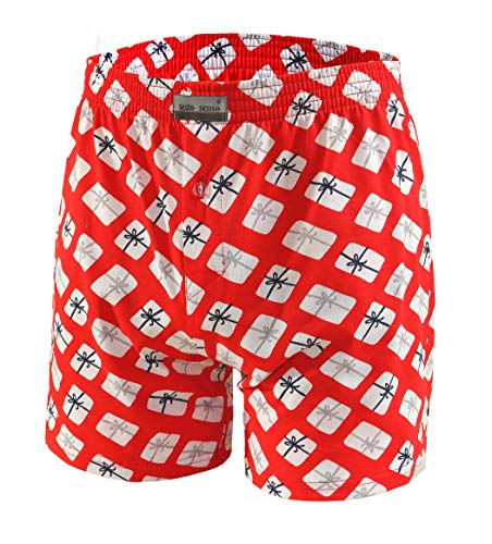 Sesto Senso Boxershorts Weihnachten Men Unterhosen Männer 100% Baumwolle Unterwäsche Herren Boxershorts SSB (Rot, M)