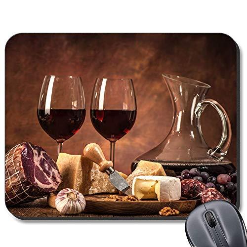 Alfombrilla Antideslizante de Goma para ratón, diseño de Vino, Carne y Queso para Ordenador portátil Mac. (7.5 x 9.4 Pulgadas)