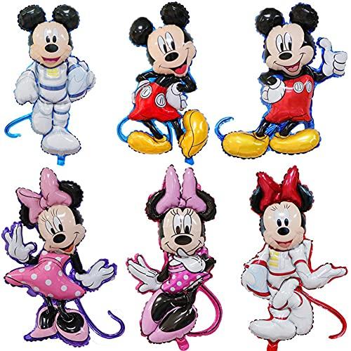 CYSJ 6 PCS Minnie Mouse cumpleaños,Artículos para Fiestas temáticas de Mickey y Minnie,Globos de Minnie Mickey Party Globos Decoraciones de cumpleaños de Mickey Mouse para Party Comunion Bautizo
