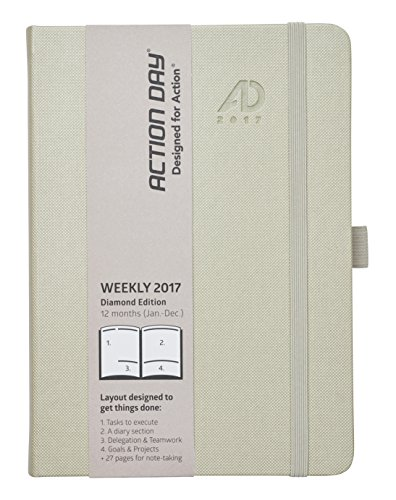 Action Day 2017 - World´s Best Action Planner - Layout Designed to Get Things Done - Weekly Daily Monthly Yearly Agenda, Calender, Appointment, Organizer & Goal Journal (6x8 / Thread-Bound/Sand)