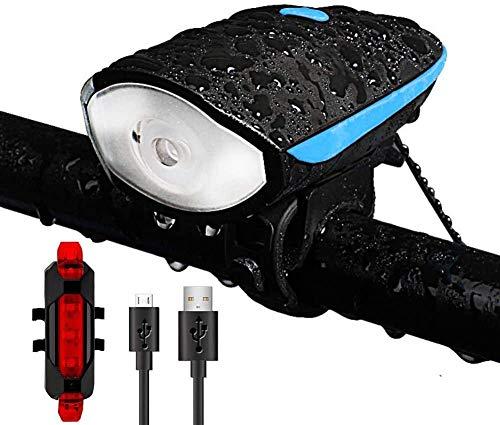 2 en 1 USB bicicleta luz recargable LED bicicleta luz delantera con cuerno y luz trasera trasera súper brillante faros delanteros impermeable seguridad ciclismo linterna antorcha noche montar lámpara