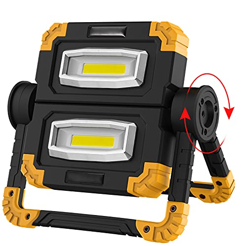 LED Work Light Rechargeable Portable - 360°Rotation Folding Hyper Tough Working Lamp with 2 COB 2000Lumens Flood Light Stand USB Cordless Battery Powered Worklight Tool for Outdoor Camping Lighting
