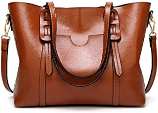 AMERTEER Women Briefcase Laptop Tote Bag Vintage Leather Handbags Shoulder Purses Top Handle Satchel Daily Work Shoulder Bag Large Capacity 15.6 inch