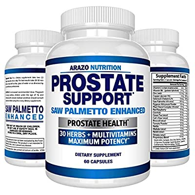 Prostate Supplement - Saw Palmetto + 30 Herbs - Reduce Frequent Urination, Remedy Hair Loss, Stamina – Single Homeopathic Herbal Extract Health Supplements - Capsule or Pill - Arazo Nutrition