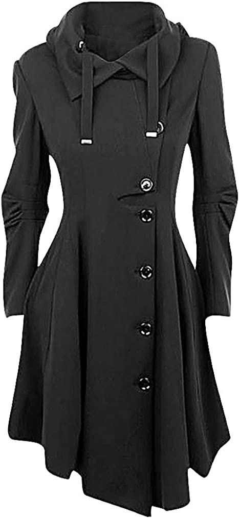 New popularity USR Women Classy Goth Black Excellent Uneven Turndown Collar Side Buttons