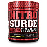 NITROSURGE Shred Pre Workout Supplement - Energy Booster, Instant Strength Gains, Sharp Focus, Powerful Pumps - Nitric Oxide Booster & PreWorkout Powder - 30Sv, Blueberry Lemonade