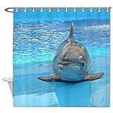 BYRON HOYLE Cortina de ducha delfines para acuario, cortina de ducha con anillos, cortina de ducha de tela de poliéster con ganchos, decoración de baño de 156 x 172 cm