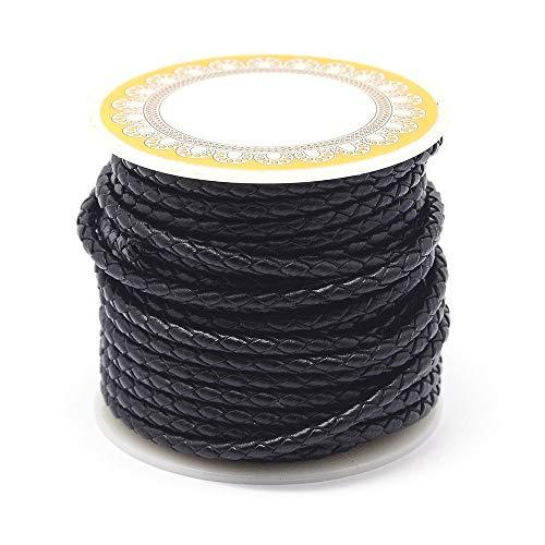 PandaHall Cordón de cuero trenzado de 8 metros de 3 mm negro redondo de cuero auténtico para hacer pulseras y collares