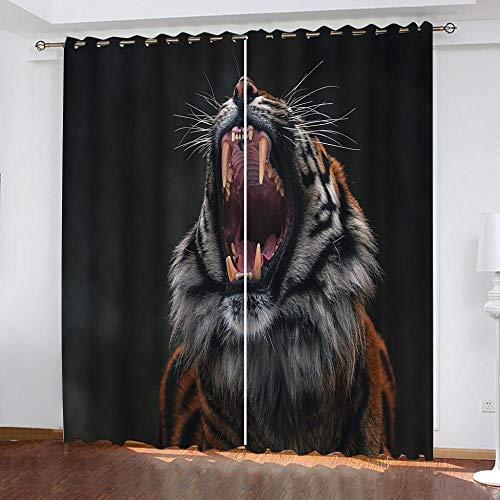MENGBB Cortina Opaca Microfibra Infantil 160x180cm Aullido de Tigre Animal 95% Opaca Cortina aislantes de frío y Calor Decorativa con Ojales Estilo para Salón Habitación y Dormitorio
