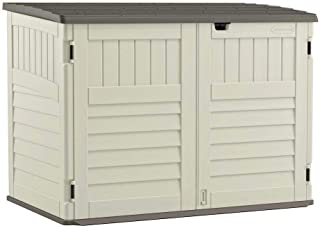 Suncast Stow - Away Horizontal Storage Shed - Outdoor Storage Shed for Backyards and Patios - 70 Cubic Feet Capacity for Garbage Cans, Tools and Garden Accessories - Vanilla and Stoney