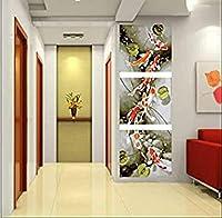 QMGLBG 装飾絵画トリプティク ロータス池金魚キャンバス絵画リビングルーム寝室廊下壁装飾背景絵画(30cm*40cm*3)