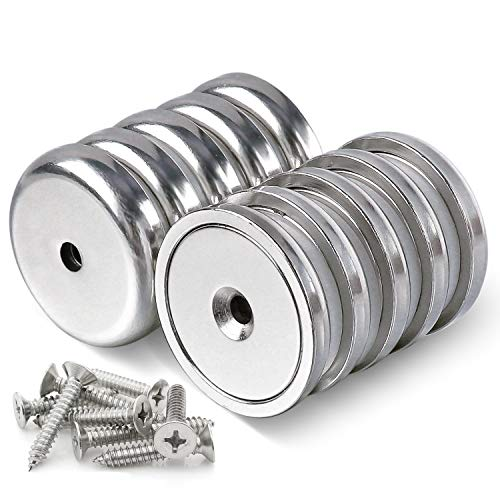 DIYMAG Neodymium Round Base Cup Magnet,100LBS Strong Rare Earth Magnets with Heavy Duty Countersunk Hole and Stainless Screws for Refrigerator Magnets,Office,Craft,etc-Dia 1.26 inch-Pack of 10