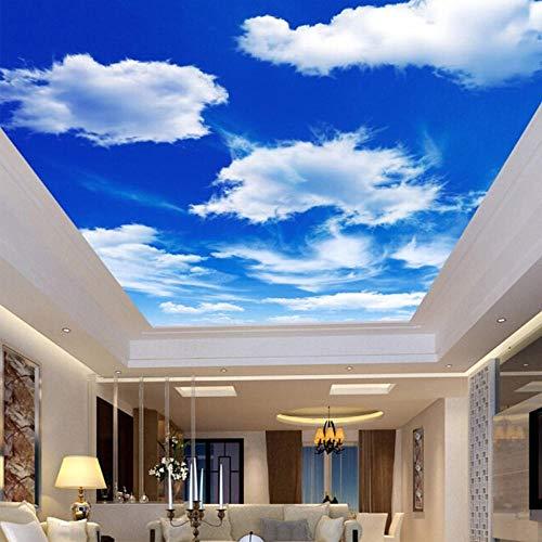 Fototapete 3D Effekt Individuelle Fototapete Blauer Himmel Und Weiße Wolken Deckengemälde Tapeten Für Wohnzimmer Schlafzimmer Decke Hintergrund Dekor Wand 120X100 Cm