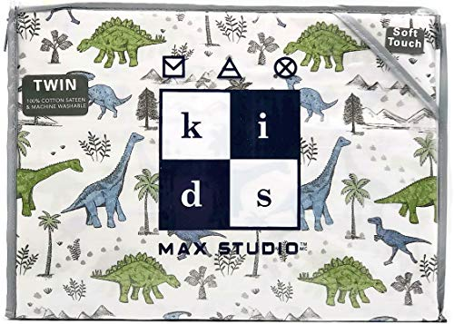 Max Studio Kids Boys Dinosaur Land Cotton Twin Sheet Set