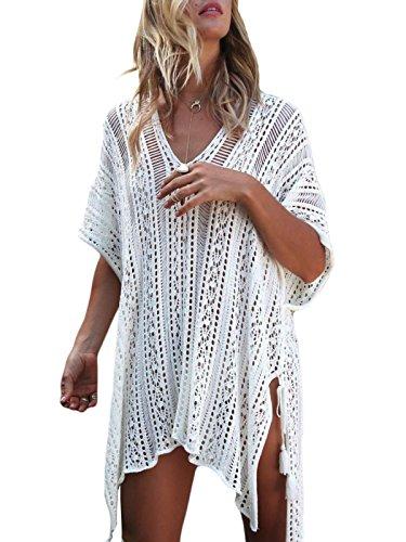 Beaii Damen Gestrickte Strandkleid V Ausschnitt Badeanzug Strandponcho Strandurlaub Bikini Cover-Ups Sommer