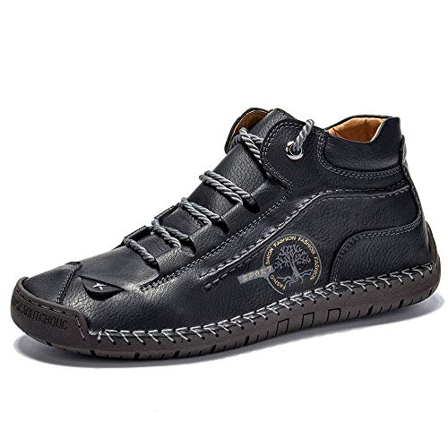 Govicta Mens Leather Ankle Chukka Boots Casual Shoes Loafers Flat Shoes Vintage Hand Stitching Comfort Soft Breathable Lace-up Lightweight Fashionable Flats Oxford Shoes Black Size US 8.5