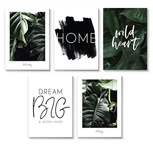 Tropical Breeze 5er Poster Set in A4. Super Set BOTANIC schwarz weiss MARELLE Kennenlernpaket. 5x DIN A4 Wandbild, Druck, Print, Geschenk, Zitat, Spruchbild, sw A48190